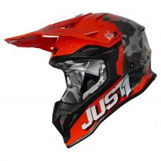 Кросова каска Just1 J39 Kinetic Camo Fluo Grey/Red Fluo/Orange