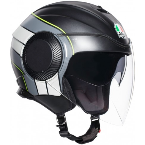 Каска за скутер AGV ORBYT BRERA MATT BLACK/GREY/YELLOW FLUO